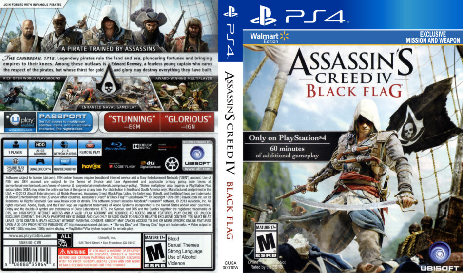 Assassin S Creed Iv Black Flag Dvd Cover 2013 Usa Ps4