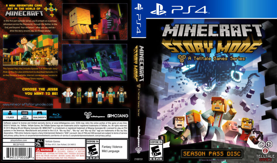 Minecraft Story Mode dvd cover (2015) USA PS4