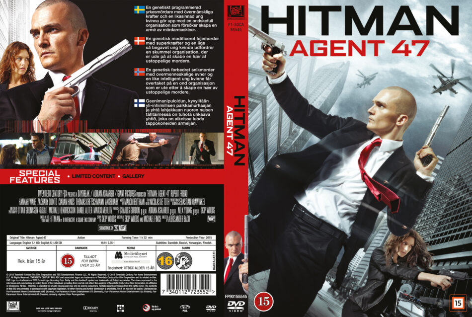 Hitman Agent 47 Dvd Cover Custom Label 2015 R2 Nordic