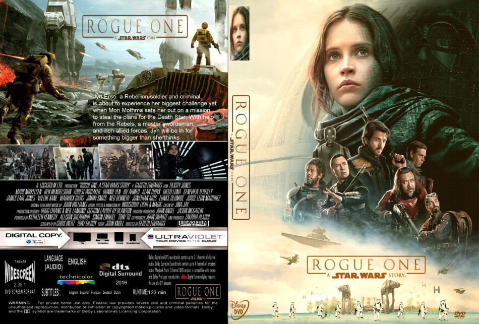 Rogue One A Star Wars Story Dvd Cover Label 2016 R1 Custom