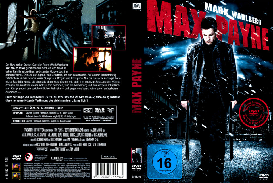 Max Payne Dvd Cover Label 2008 R2 German Custom