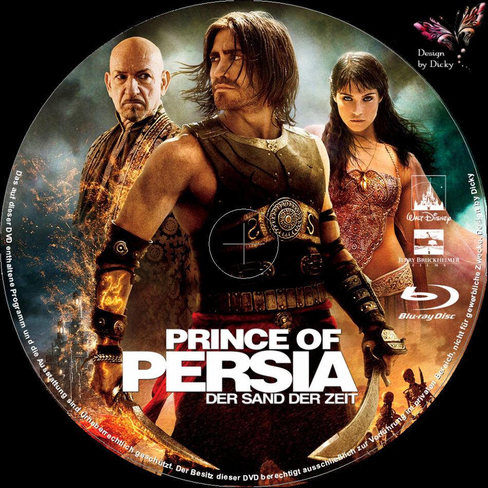 Prince Of Persia The Sands Of Time Blu Ray Labels 2010 R2 German Custom