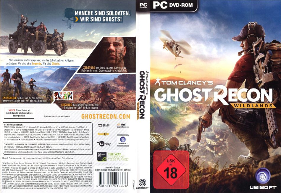 Tom Clancys S Ghost Recon Wildlands Dvd Cover 2017 German Custom Pc
