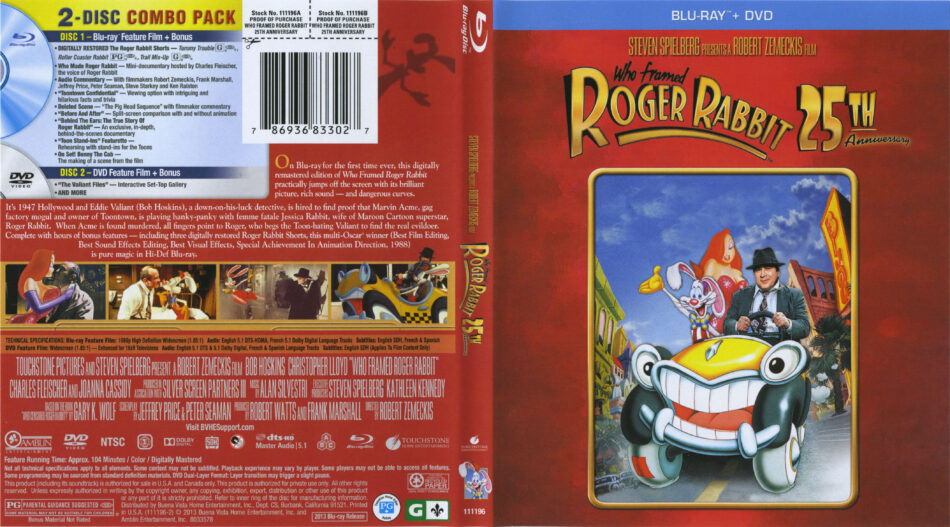 Who Framed Roger Rabbit Blu Ray Cover Labels 1988 R1