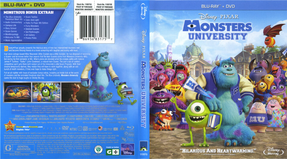 Monsters University Blu Ray Cover Labels 2013 R1