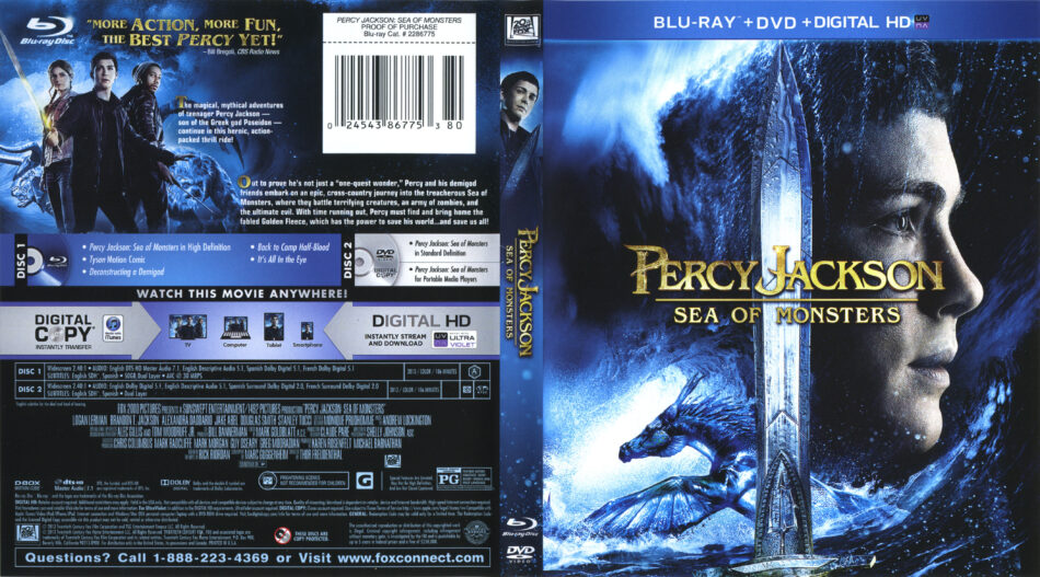 Percy Jackson Sea Of Monsters Blu Ray Cover Labels 2013 R1