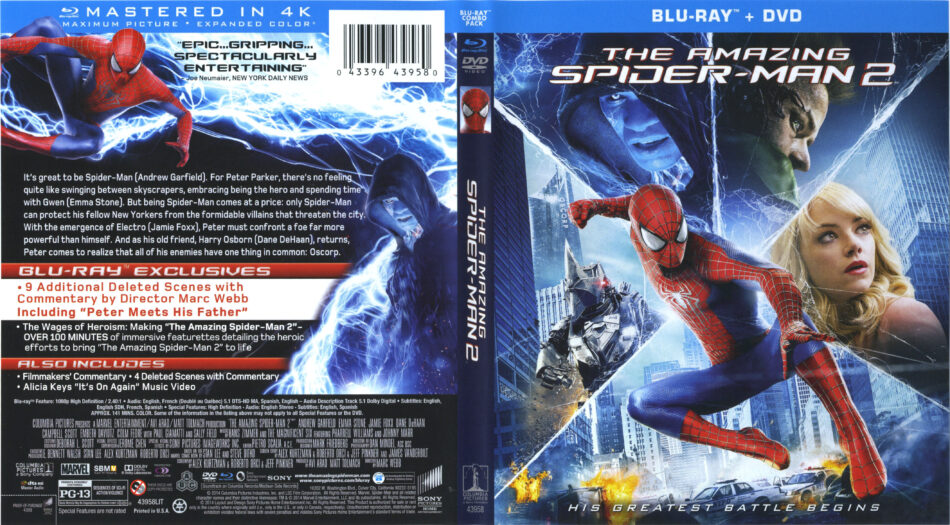 The Amazing Spider Man 2 Blu Ray Cover Labels 2014 R1