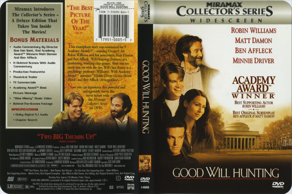 Good Will Hunting Dvd Cover Label 1997 R1