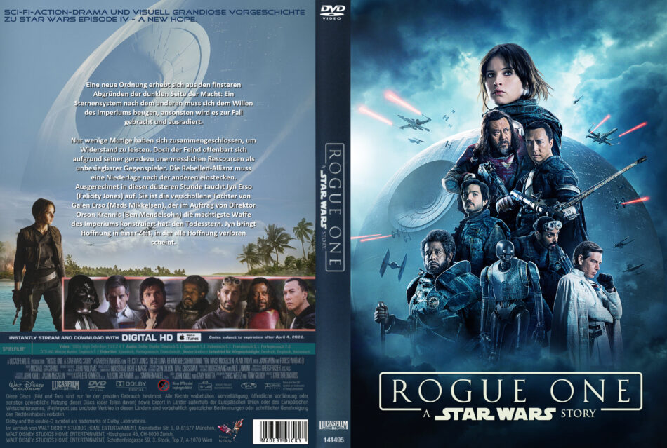 Rogue One A Star Wars Story Dvd Cover Labels 2016 R2 German Custom
