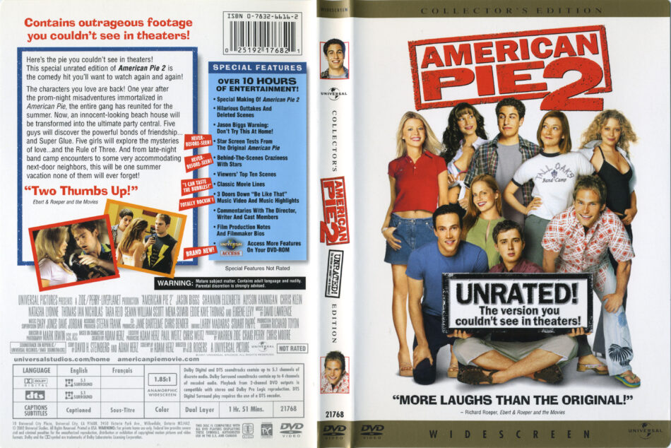 American Pie 2 Dvd Cover Label 2001 R1