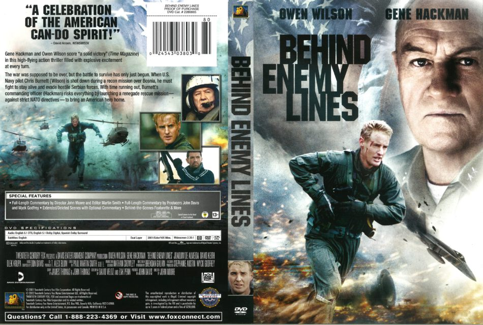 Behind Enemy Lines dvd cover (2001) R1