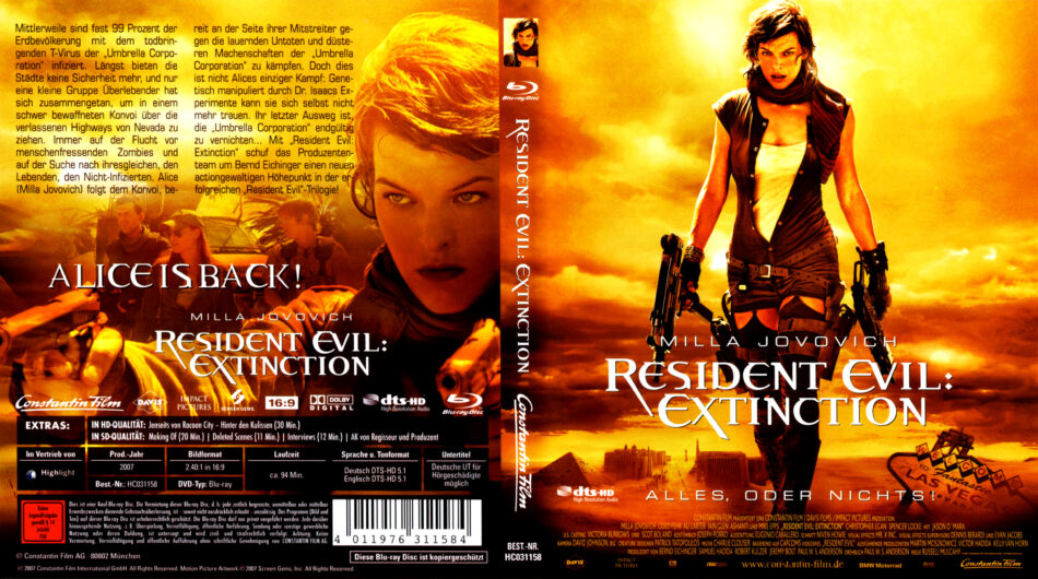 Resident Evil Extinction Blu Ray Cover 2007 R2 German