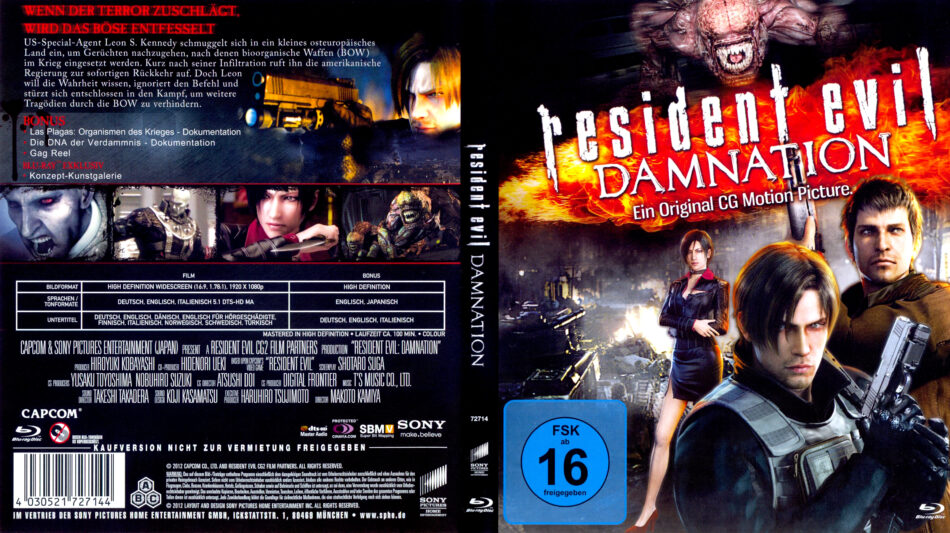 Resident Evil Damnation Blu Ray Cover 2012 R2 German