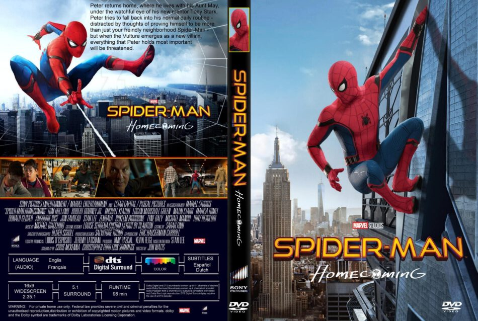 Spider Man Homecoming Dvd Cover Label 2017 R1 Custom