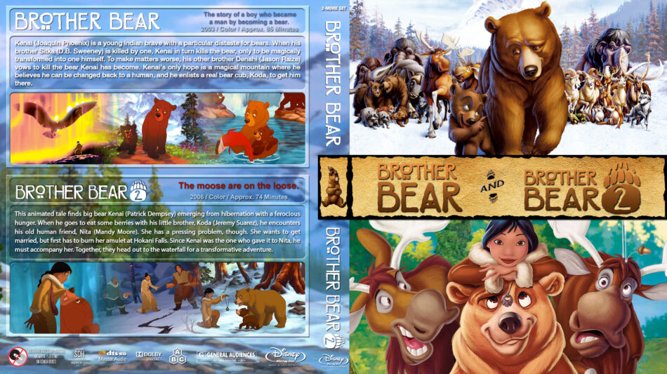 Brother Bear Double Feature Blu Ray Cover 2003 2006 R1 Custom
