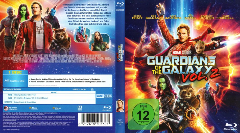 Guardians Of The Galaxy Vol 2 2017 R2 German Blu Ray Cover Dvdcover Com