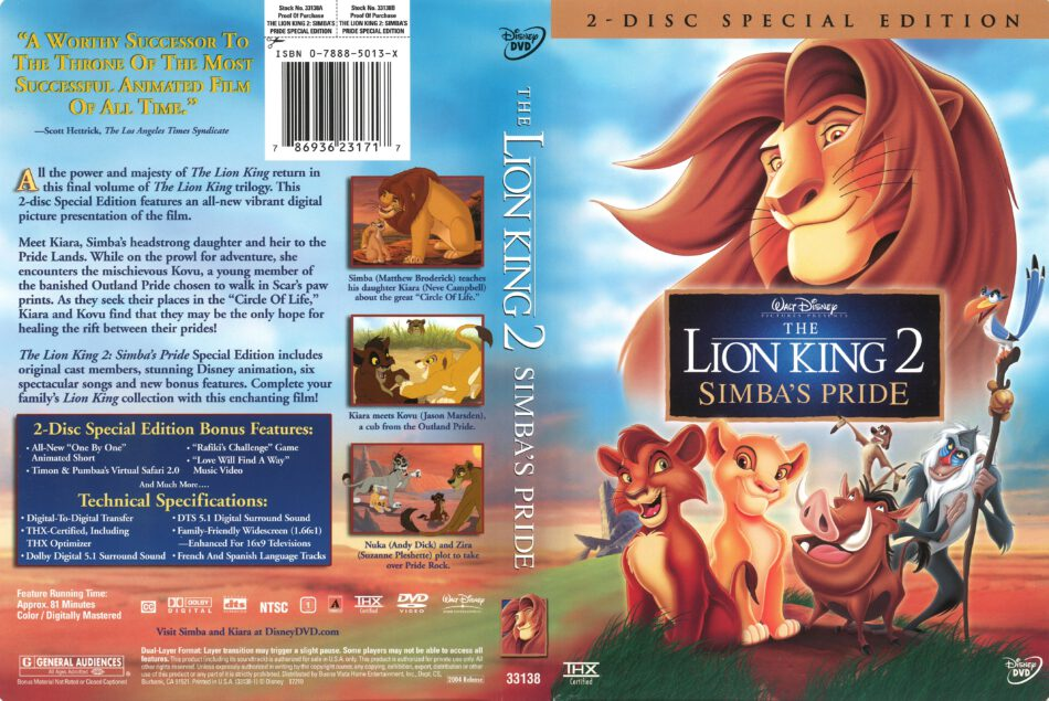 The Lion King 2 Simba S Pride 2004 R1 Dvd Cover Dvdcover Com