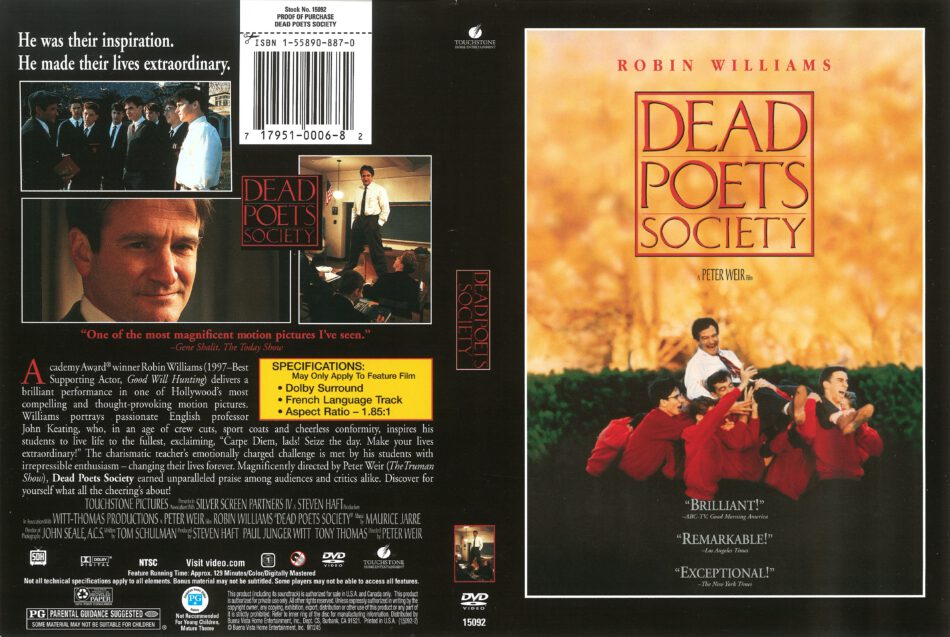 Dead Poets Society 1989 R1 Dvd Cover Dvdcover Com