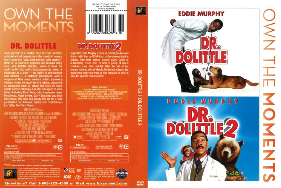 Dr Dolittle Double Feature 1998 2001 R1 Dvd Cover Dvdcover Com