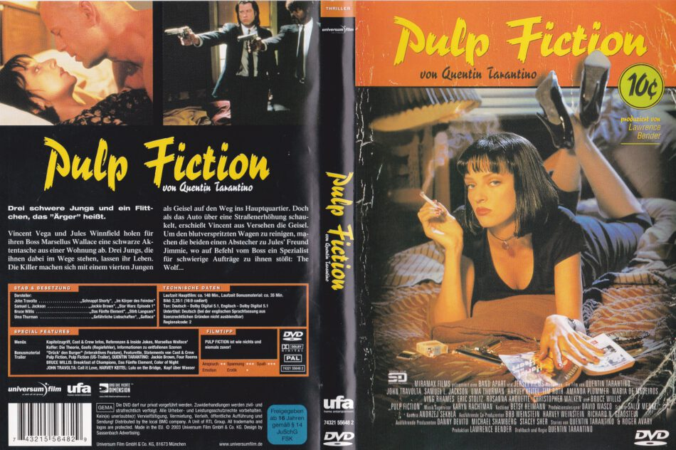Pulp Fiction 1994 R2 German Dvd Cover Label Dvdcover Com