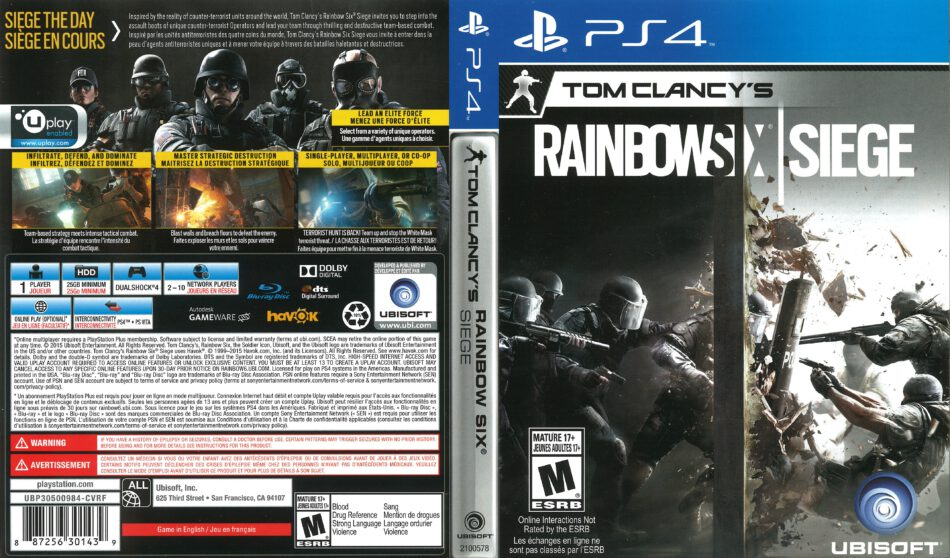 Tom Clancy S Rainbow Six Siege 2015 Ps4 Cover Dvdcover Com