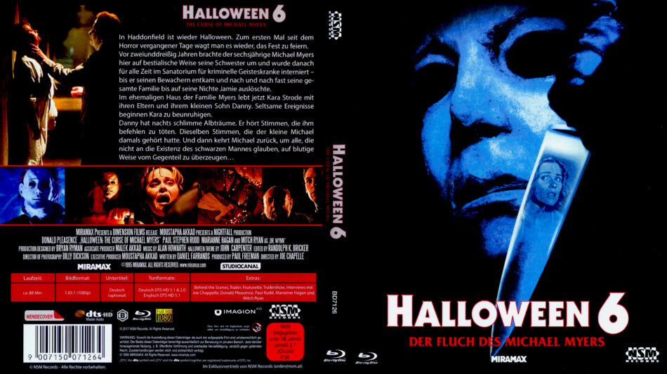 Halloween 5 Blu Ray.Halloween 6 Der Fluch Des Michael Myers 1995 R2 German Blu Ray