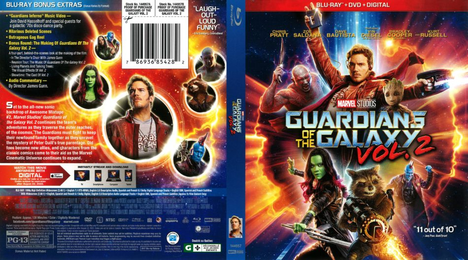 Guardians Of The Galaxy Vol 2 2017 R1 Blu Ray Cover Dvdcover Com