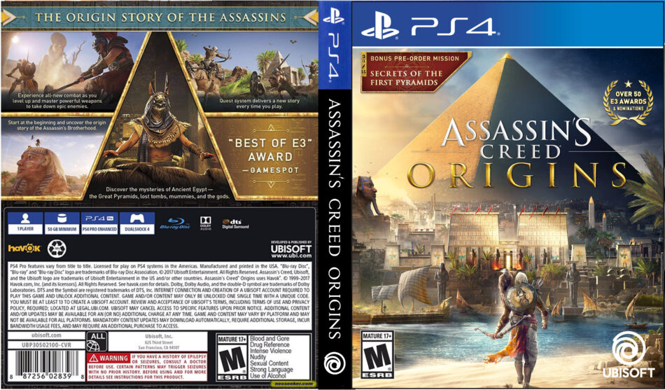 Assassin S Creed Origins 2017 Ps4 Cover Dvdcover Com