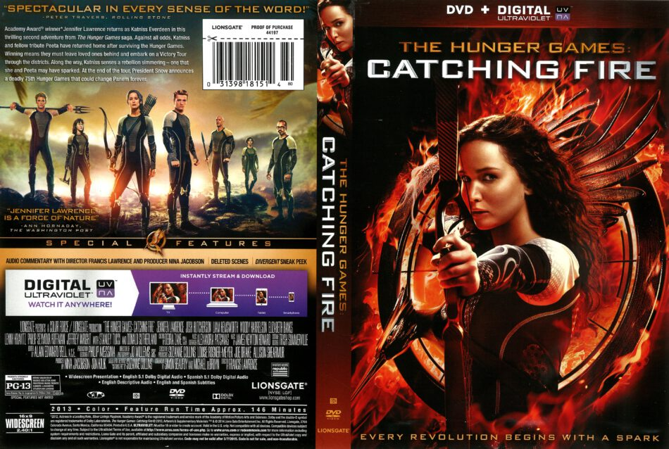 The Hunger Games: Catching Fire (2013) R1 DVD Cover ...