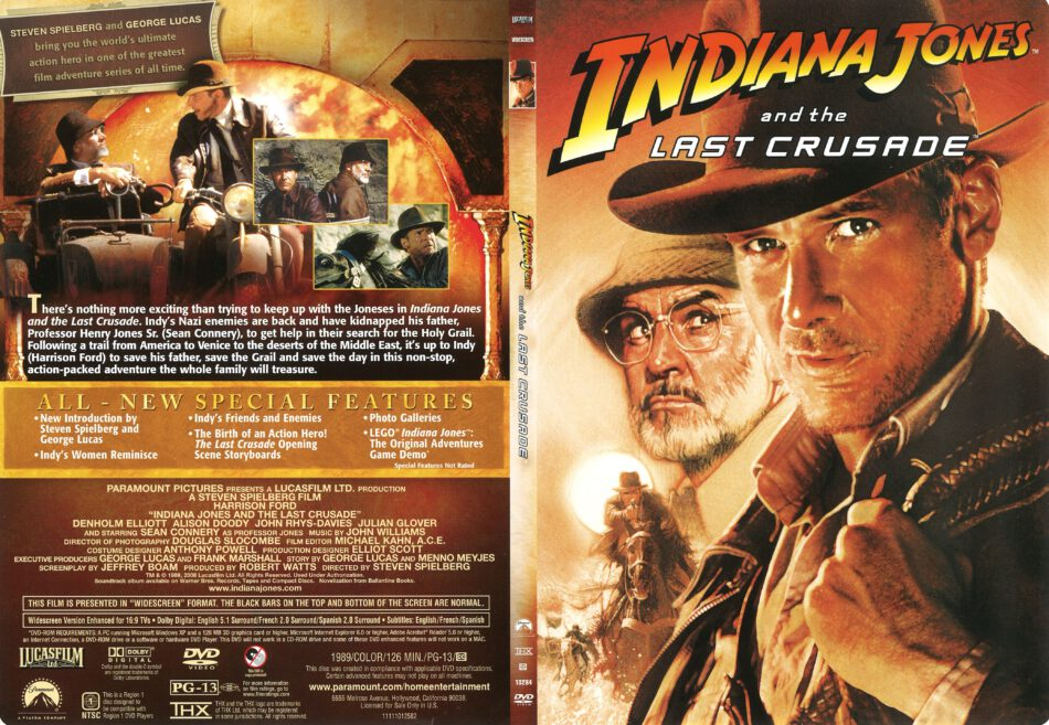 Indiana Jones And The Last Crusade 1989 R1 Slim Dvd Cover Dvdcover Com