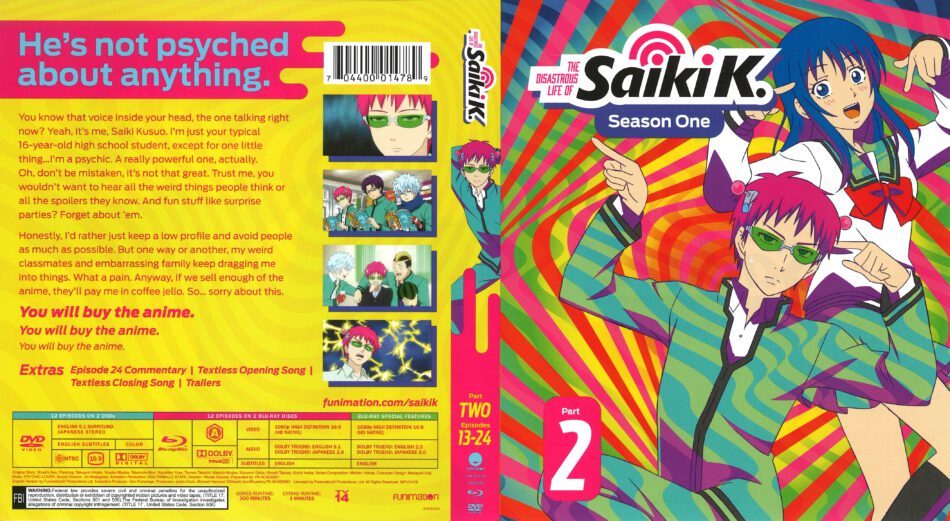 The Disastrous Life of Saiki K Season 1 Part 2 (2017) R1 Blu