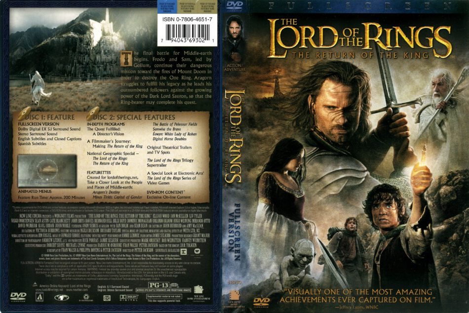 Lord of the Rings: The Return of the King (2003) R1 DVD ...