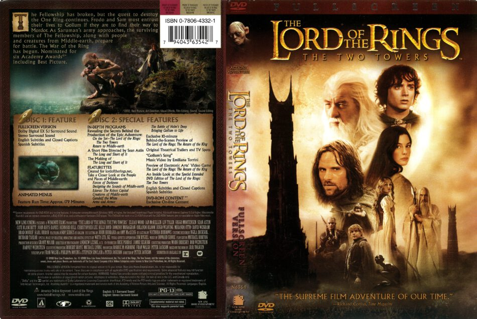Lord Of The Rings The Two Towers 2002 R1 Dvd Cover Dvdcover Com