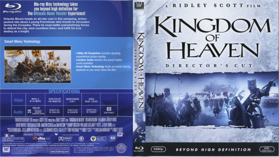Kingdom Of Heaven 2005 R1 Blu Ray Cover Label Dvdcover Com