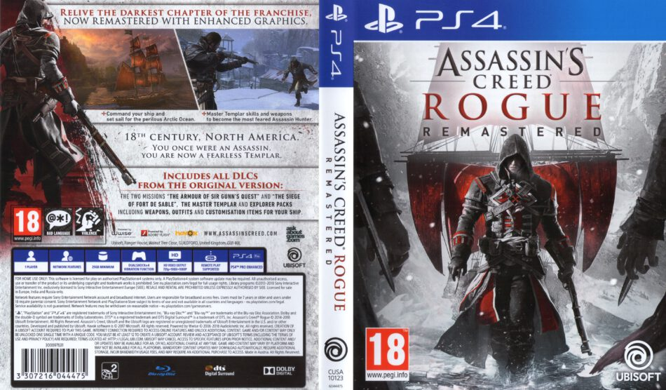 Assassin S Creed Rogue Remastered 2018 Pal Ps4 Cover Label