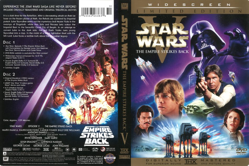Star Wars Episode V The Empire Strikes Back 1980 R1 Dvd Cover Dvdcover Com