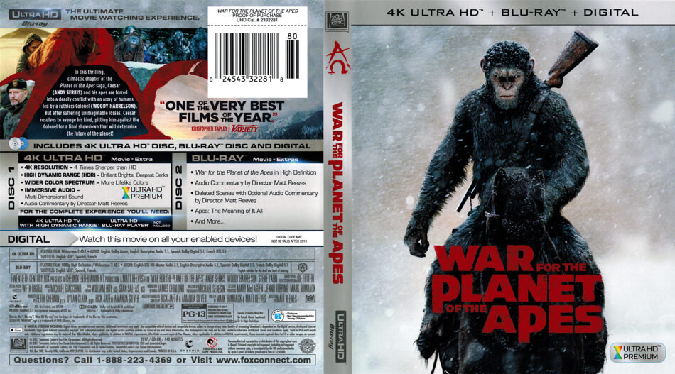 War For The Planet Of The Apes 2017 R1 4k Uhd Cover Dvdcover Com