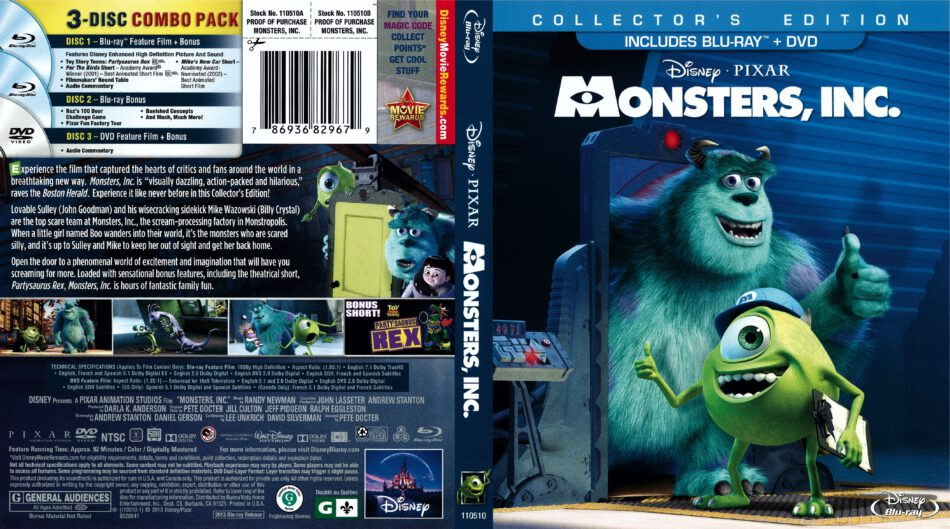 Monsters Inc 2013 R1 Blu Ray Cover Dvdcover Com