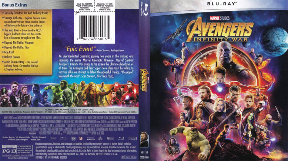Avengers: Infinity Wars (2018) R1 Blu-Ray Cover & Label