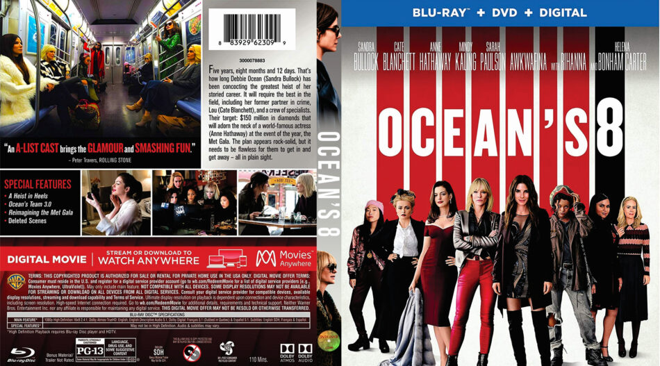 Ocean S Eight 2018 Blu Ray Cover Label Dvdcover Com