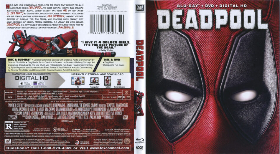 Deadpool 2016 R1 Blu Ray Cover Labels Dvdcover Com