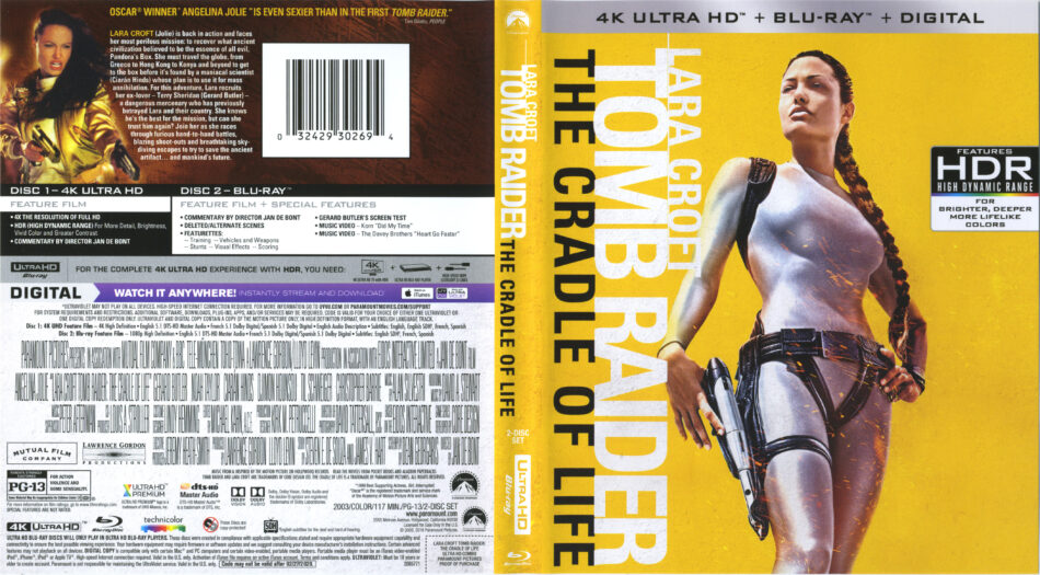 Lara Croft Tomb Raider The Cradle Of Life 2003 4k Uhd Cover Labels Dvdcover Com