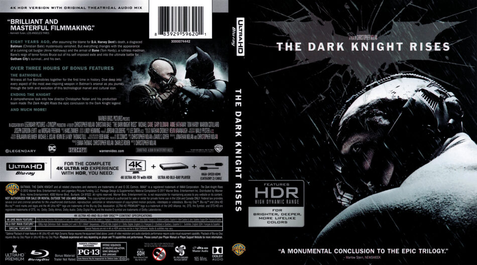 The Dark Knight Rises 2012 R1 4k Uhd Cover Dvdcover Com