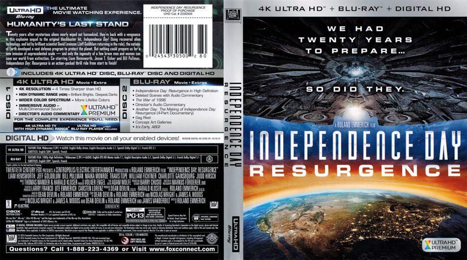 Independence Day Resurgence 2016 R1 4k Uhd Blu Ray Cover Label Dvdcover Com
