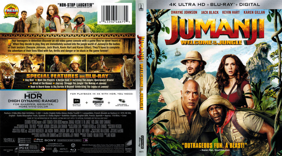 Jumanji Welcome To The Jungle 2017 R1 4k Uhd Blu Ray Cover Label Dvdcover Com