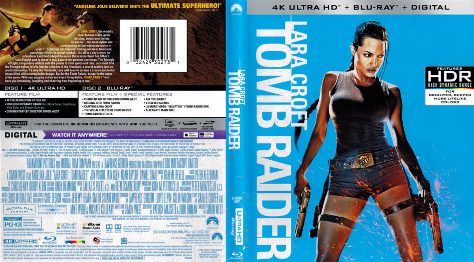 Lara Croft Tomb Raider 2001 R1 4k Uhd Blu Ray Cover