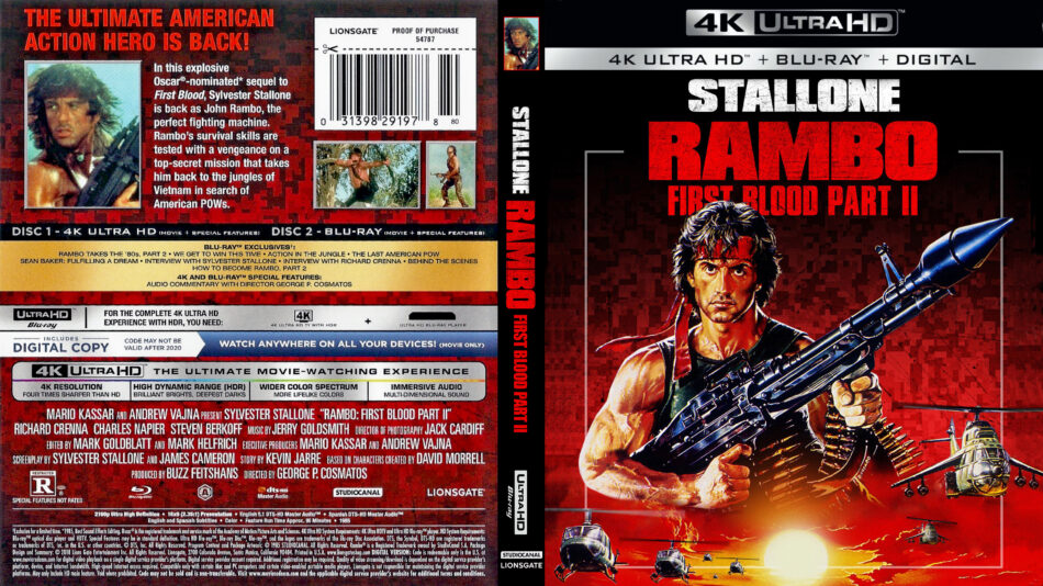 Rambo First Blood Part Ii 1985 R1 4k Uhd Custom Cover Dvdcover Com