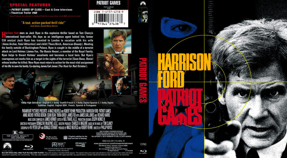 Patriot Games 1992 R1 Blu Ray Cover Dvdcover Com