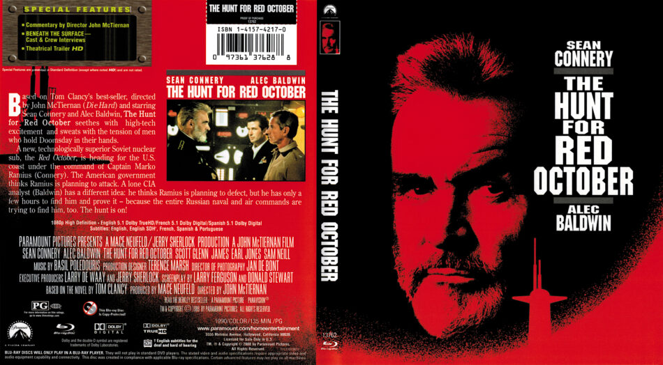 The Hunt For Red October 1990 R1 Blu Ray Cover Dvdcover Com