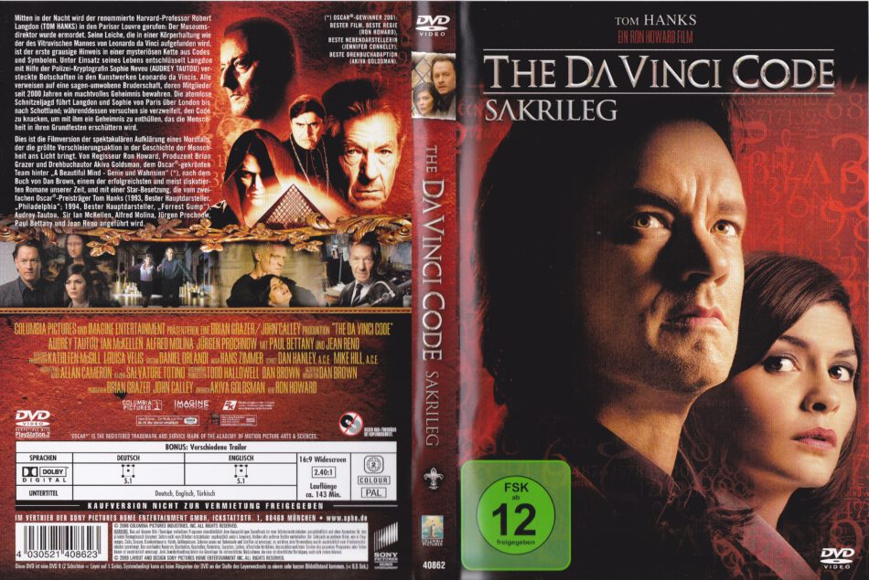 The Da Vinci Code Sakrileg 2006 R2 German Dvd Cover Label Dvdcover Com